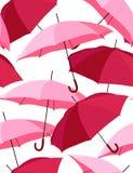 Guarda-chuvas cor-de-rosa - teste padrão sem emenda do vetor Fotografia de Stock Royalty Free