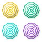 Guarda-chuvas de praia ajustados, vista superior Fotografia de Stock Royalty Free