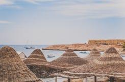 Guarda-chuvas de praia contra o contexto da costa de mar fotos de stock royalty free