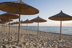 Guarda-chuvas de praia da palha Fotos de Stock