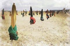 Guarda-chuvas de praia de deauville, França Imagens de Stock Royalty Free