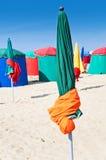 Guarda-chuvas de praia, Deauville, França Fotografia de Stock