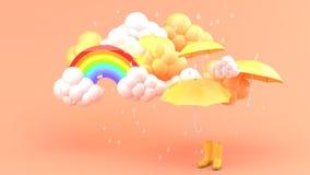 Guarda-chuvas e botas amarelas entre tempestades e arcos-íris em um bachground alaranjado ilustração royalty free