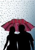 Guarda-chuvas e chuva Imagens de Stock Royalty Free