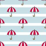 Guarda-chuvas e tiras do azul Teste padrão sem emenda simples ilustração do vetor