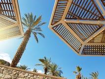Guarda-chuvas ensolarados claros do céu e de praia no recurso de Eilat; Israel fotos de stock