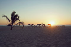 Guarda-chuvas na praia imagem de stock