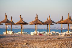 Guarda-chuvas Thatched na praia Imagens de Stock Royalty Free