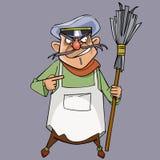 Guarda de serviço masculino mau dos desenhos animados com uma vassoura à disposição Fotografia de Stock