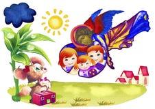 Guarda del ángel Pintura de la acuarela stock de ilustración