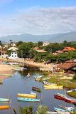 GUARDA DO EMBAU, SANTA CATARINA, BRAZIL. Panoramic view of village next to the river. stock image