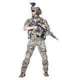 Guarda florestal do exército dos EUA com arma Fotos de Stock