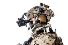 Guarda florestal do exército em uniformes do campo Fotografia de Stock Royalty Free