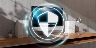 Guarda-fogo branco e digital que voa sobre a rendição do desktop 3D Imagens de Stock Royalty Free
