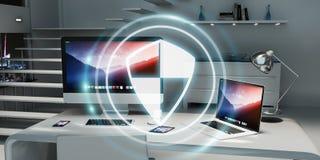 Guarda-fogo branco e digital que voa sobre a rendição do desktop 3D Imagem de Stock