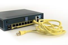 Guarda-fogo e cabo do Ethernet Fotografia de Stock