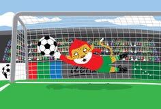 Guarda-redes do futebol da mascote ilustração stock