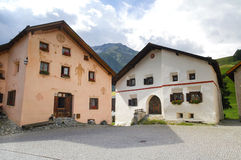 Guarda, typical village in Engadine Stock Photography