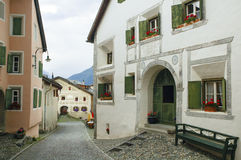 Guarda, typical village in Engadine Stock Photos