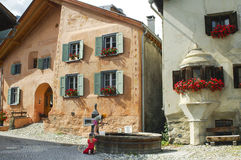 Guarda, typical village in Engadine Stock Images