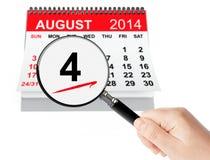 Guardacostas de Estados Unidos Day Concept 4 de agosto de 2014 wi del calendario Foto de archivo libre de regalías