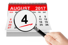 Guardacostas de Estados Unidos Day Concept 4 de agosto de 2017 wi del calendario ilustración del vector