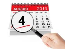 Guardacostas de Estados Unidos Day Concept. Wi del calendario del 4 de agosto de 2013 Imagenes de archivo