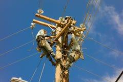Guardalinee sul lavoro su Bequia in Isole Sopravento meridionali Immagine Stock