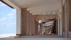 Damaged beach houses stock footage