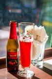 Guardanapo da cerveja do fruto e de vidro de cerveja e os de papel Imagens de Stock Royalty Free