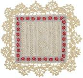 Guardanapo de tabela de linho tricotado manualmente Imagem de Stock Royalty Free