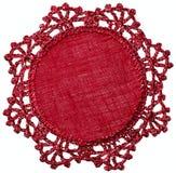 Guardanapo de tabela de linho tricotado manualmente Fotos de Stock Royalty Free