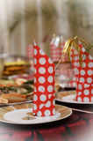 Guardanapo festivo vermelho Imagem de Stock Royalty Free