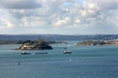 Guardando attraverso il suono, Plymouth Devon Regno Unito Immagine Stock Libera da Diritti