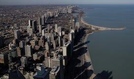Guardando giù da 1.000 piedi sulla città di Chicago Fotografia Stock Libera da Diritti