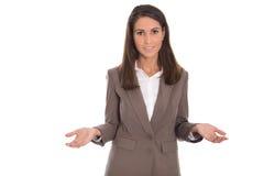 Guardando o conceito do equilíbrio Mulher de negócios isolada sobre o backg branco imagens de stock royalty free