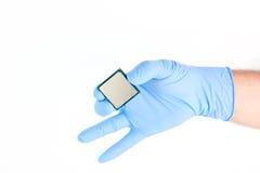 Guardando o processador poderoso pequeno do computador Imagens de Stock Royalty Free