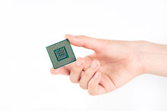 Guardando o processador poderoso pequeno do computador Foto de Stock Royalty Free