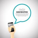 Guardando o telefone Copyspace Imagem de Stock Royalty Free