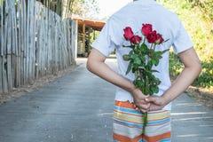 Guardando uma rosa, surpresa no dia de Valentim fotos de stock