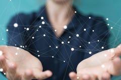 Guardar da mulher de negócios e conexão de rede tocante 3D do voo Imagens de Stock Royalty Free