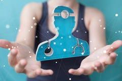 Guardar da mulher de negócios e rendição médica tocante do ícone 3D Fotografia de Stock Royalty Free