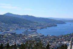 Guardare dall'alto in basso Bergen Norway Immagini Stock Libere da Diritti