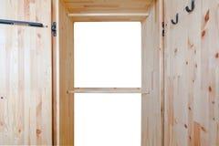 Guardarropa de madera vacío en el fondo blanco Imagen de archivo libre de regalías