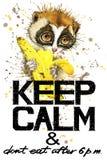 Guarde la calma Ejemplo de la acuarela del lémur ilustración del vector