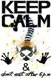 Guarde la calma Ejemplo del watercolorr del lémur stock de ilustración