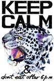 Guarde la calma Ejemplo del watercolorr del leopardo stock de ilustración