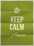 Guarde la calma por favor para citar en textura de papel doblada Imagen de archivo