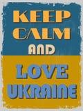 Guarde la calma y ame Ucrania Cartel de motivación Fotos de archivo libres de regalías