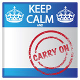 Guarde la calma y a Carry On Badge Imagen de archivo libre de regalías
